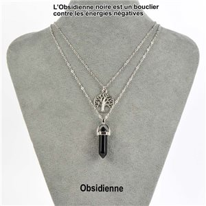 Pendant Charm Necklace Pendant 30mm Obsidian Stone on silver chain 76919
