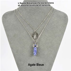 Necklace Door Happiness Pendant 30mm Blue Agate stone on silver chain 76925
