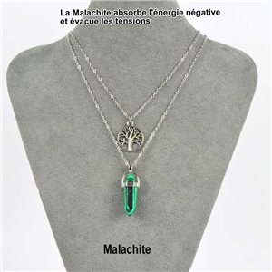 Necklace Door Happiness Pendant 30mm Malachite Stone on silver chain 76926