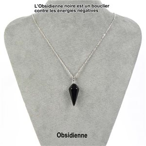Necklace Pendulum Pendant 30mm Obsidian Stone on silver chain 76913