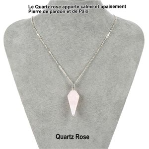 Necklace Pendulum Pendant 30mm Pink Quartz Stone on silver chain 76936