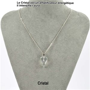Pendulum Necklace Pendant 20mm Crystal Stone on silver chain 76904