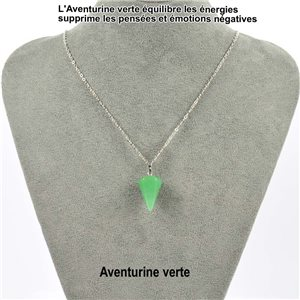 Pendant necklace pendant 20mm green Aventurine stone on silver chain 76910