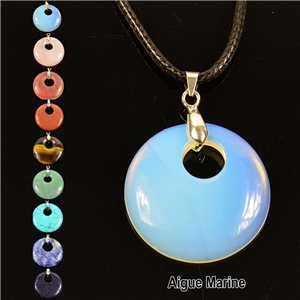 Necklace Donuts Pendant 30mm Aquamarine Stone on waxed cord 76927