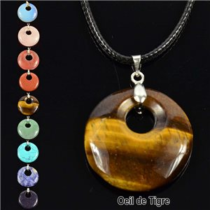 Necklace Donuts Pendant 30mm Stone Tiger Eye on waxed cord 76931