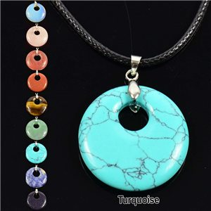 Necklace Donuts Pendant 30mm Turquoise Stone on waxed cord 76933