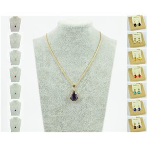 Pendant necklace 20mm Crystal Color on gold chain soft mesh snake L47-51cm 76944