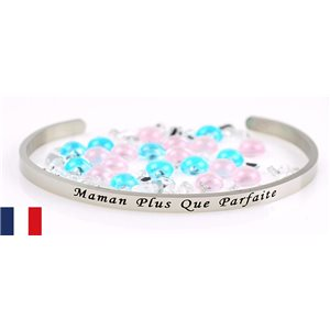Stainless Steel Bangle Message: Maman Plus Que Parfaite 77300