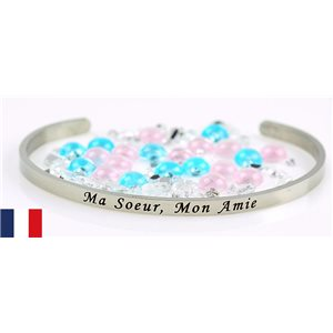 Stainless Steel Bangle Message: Ma Soeur, Mon Amie 77305