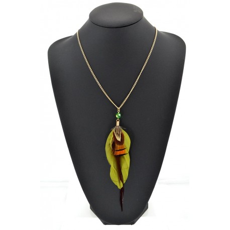 Feather Necklace pendant on a gold chain L60 cm 62327