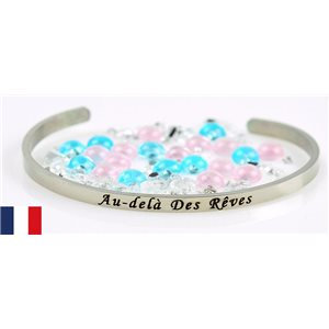 Stainless Steel Bangle Message: Au Dela des Rêves 77307