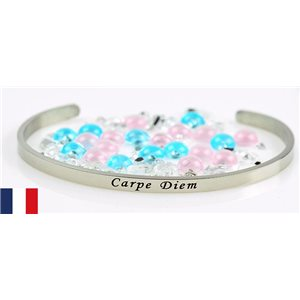 Stainless Steel Bangle Message: Carpe Diem 77308