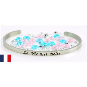 Stainless Steel Bangle Message: La Vie est Belle 77311