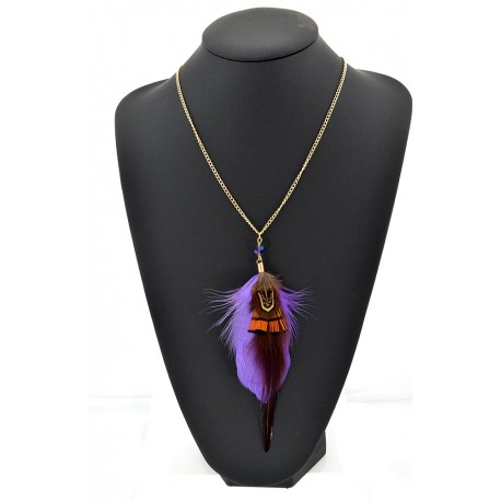 Feather Necklace pendant on a gold chain L60 cm 62328