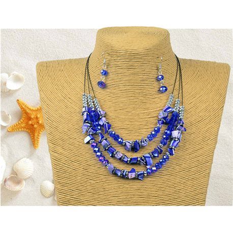 New Collection Parure Pendant Necklace 3 Row of Pearls Shells L44-48cm 77160