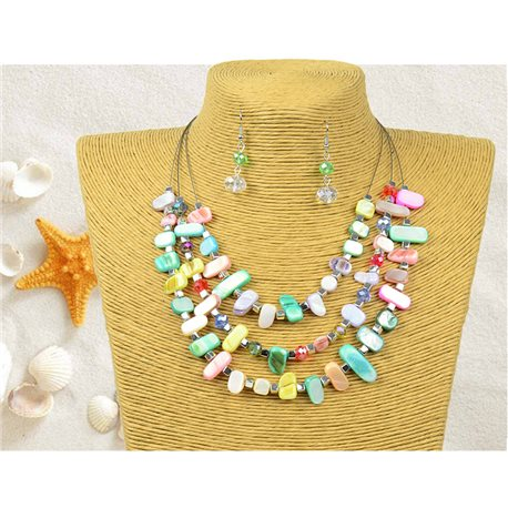 New Collection Parure Pendant Necklace 3 Row of Pearls Shells L44-48cm 77154