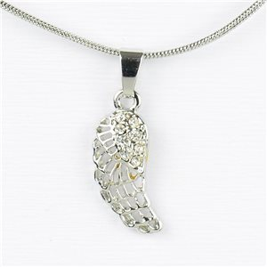 Rhinestone Pendant Necklace IRIS Silver Color Chain snake mesh L40-45cm 77211