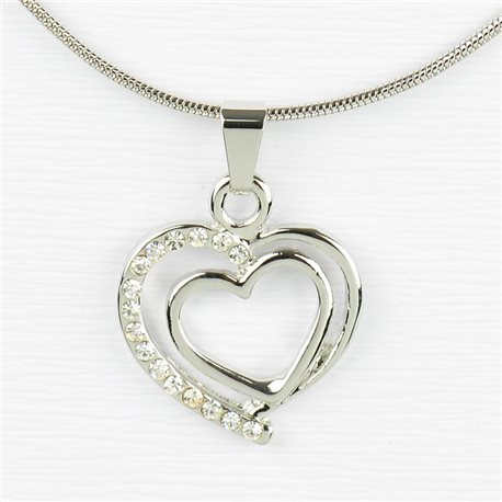 Rhinestone Pendant Necklace IRIS Silver Color Chain snake mesh L40-45cm 77230
