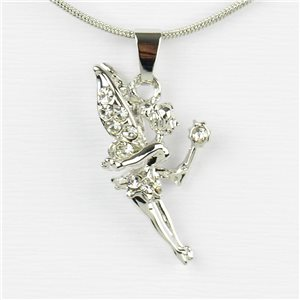 Rhinestone Pendant Necklace IRIS Silver Color Chain snake mesh L40-45cm 77234