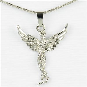 Rhinestone Pendant Necklace IRIS Silver Color Chain snake mesh L40-45cm 77237