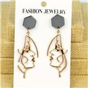 1p Earrings Nail 60mm metal color GOLD New Graphika 77361