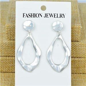 1p Earrings Nail 50mm metal color SILVER New Graphika 77380