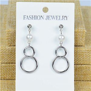 1p Earrings Nail 45mm metal color SILVER New Graphika 77430