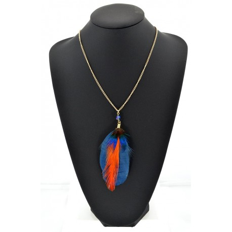 Feather Necklace pendant on a gold chain L60 cm 62333