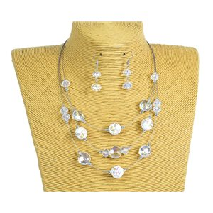 New Collection Parure Collier 3 rangs de Perles en Suspension L44-48cm 77168