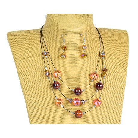 New Collection 2019-2020 Adornment Necklace 3 rows of Pearls in Suspension L44-48cm 77170