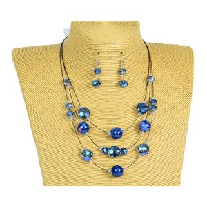 New Collection Parure Collier 3 rangs de Perles en Suspension L44-48cm 77171