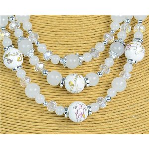 New Collection 2019-2020 Parure Collier 3 rangs de Perles en Suspension L44-48cm 77174