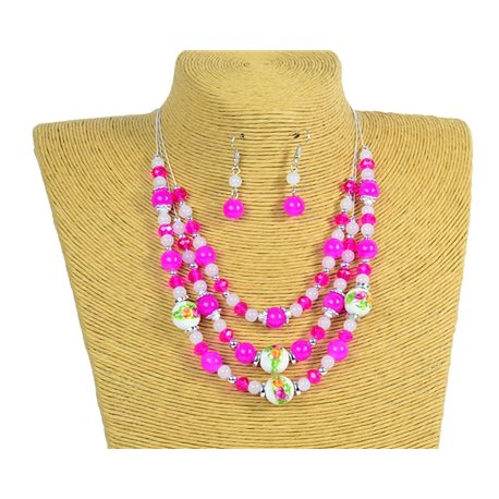 New Collection 2019-2020 Set Necklace 3 rows of Pearls in Suspension L44-48cm 77176