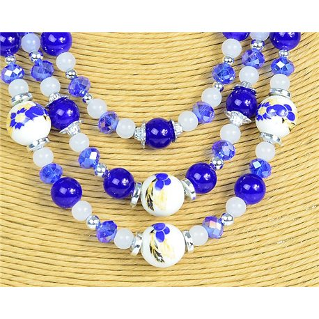 New Collection 2019-2020 Adornment Necklace 3 rows of Pearls in Suspension L44-48cm 77178
