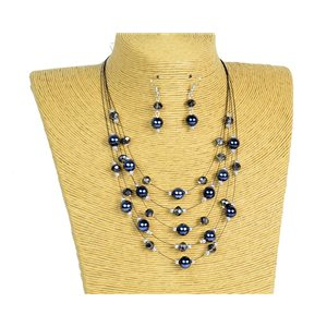 New Collection Parure Collier 5 rangs de Perles en Suspension L44-48cm 77179