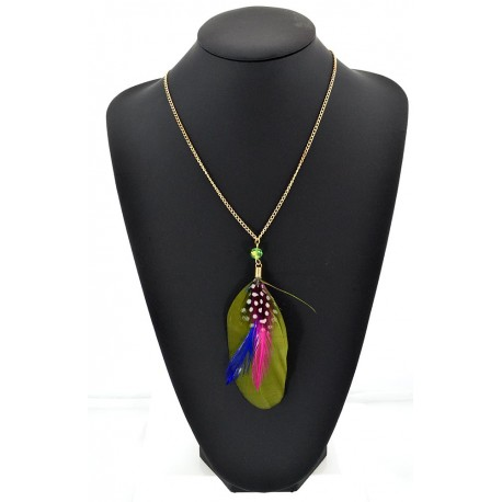 Feather Necklace pendant on a gold chain L60 cm 62335