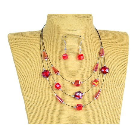 New Collection 2019-2020 Adornment Necklace 3 rows of Pearls in Suspension L44-48cm 77188