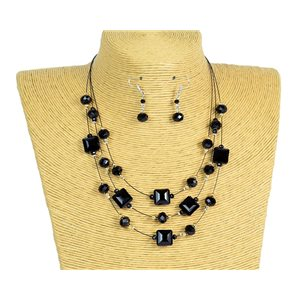 New Collection Parure Collier 3 rangs de Perles en Suspension L44-48cm 77191