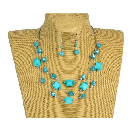 New Collection 2019-2020 Adornment Necklace 3 rows of Pearls in Suspension L44-48cm 77194