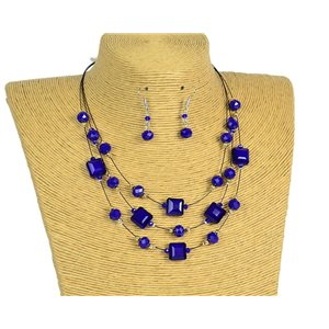 New Collection Parure Collier 3 rangs de Perles en Suspension L44-48cm 77195