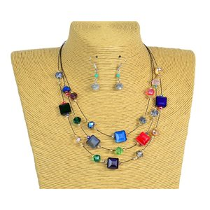 New Collection Parure Collier 3 rangs de Perles en Suspension L44-48cm 77196