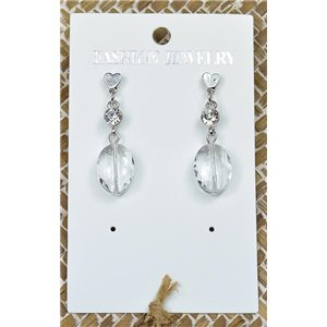 1p Earrings Silver Nail Pearl Crystal Chic Collection 77438