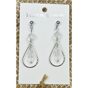 1p Earrings Silver Nail Pearl Crystal Chic Collection 77448