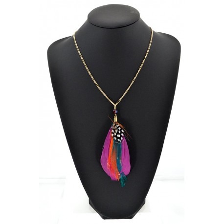 Feather Necklace pendant on a gold chain L60 cm 62336