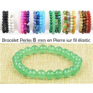 8mm Green Aventurine Stone Beads Bracelet on Elastic Wire 77475