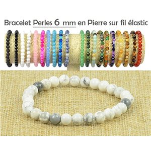 6mm White Howlite Beads Bracelet on elastic thread 77485