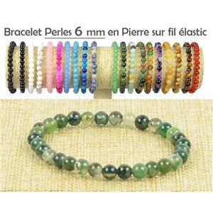 6mm Agate Agate Stone Beads Bracelet on Elastic Thread 77493