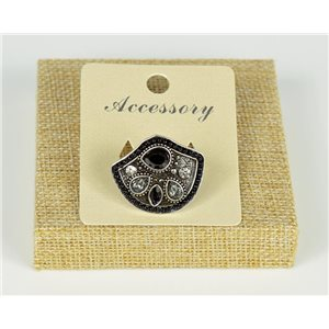 Ethnic Collection 2020 Adjustable ring set with pearls and rhinestones on silver metal 77551