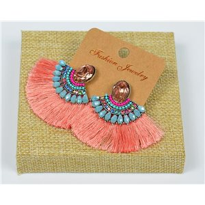 Handmade - 1p Earrings with Nails set with Beads and Strass New Pompom Collection 77643
