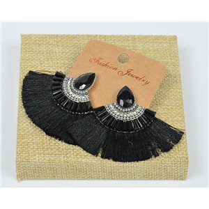 Handmade - 1p Earrings with Nails set with Beads and Strass New Pompom Collection 77645